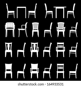 Set of modern chairs and tables set. Architecture interior design home and office furniture