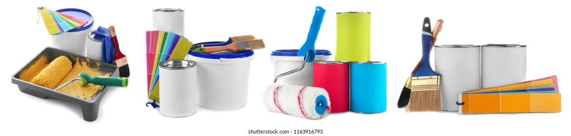 Set with modern decorator's tools on white background