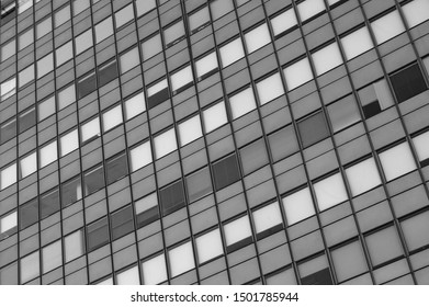 set of modern glass buildings in a business area of Madrid. Spain. Black and white.