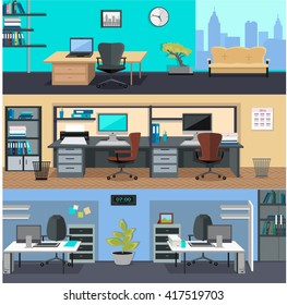 Set of modern office interior with designer desktop in flat design. Interior office room. Office space.  illustration. Working place in office interior workplace