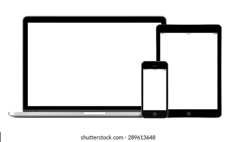 Set of modern technology devices template for responsive design presentation. Mockup consist of laptop, smartphone and tablet pc. Isolated on white background.
