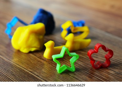 A set of molds for kids plasticine, colors object