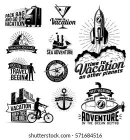 A set of monochrome retro logos on the holiday, vacation and travel theme. Posters with rocket, submarine, bicycle, suitcase, aircraft and others.