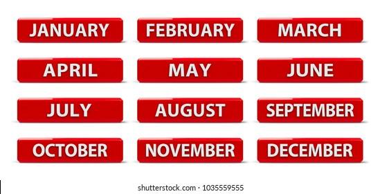 Set of months calendar web buttons, three-dimensional rendering, 3D illustration