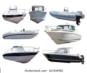 Set of motor boats. Isolated over white background
