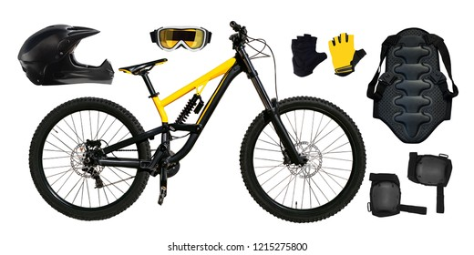 Set of mountain bike, back protector, helmet etc. isolated on white background. Extreme sport equipment and bicycle