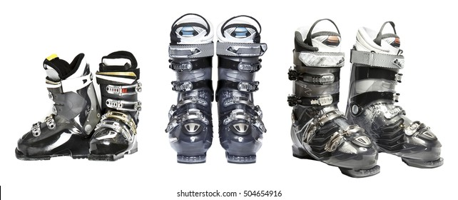 The set of mountain ski boots isolated over white background