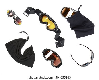 The set of mountain ski goggles and sunglasses isolated over white background