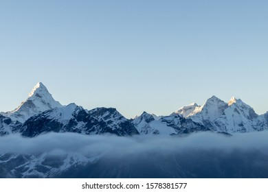 A set of mountains somewhere in the Himalayas, Nepal.