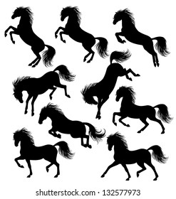 Set of a moving horse silhouettes isolated on white. There is also vector original in my portfolio.