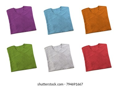 Set of multi colored folded t-shirt mock up, ready to replace your design