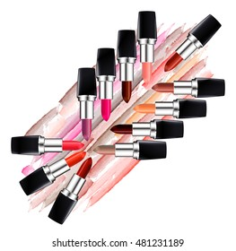 Set of multi colored lipsticks and lipstick smears isolated on white background. Beauty and cosmetics background. Rasterized version