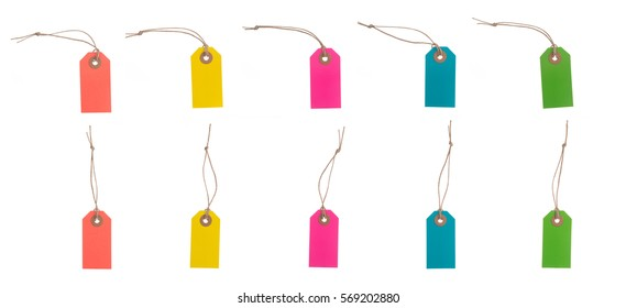 Set of Multicolor blank tags or labels with thread. Isolated on white background.Easy to change color