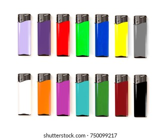 Set of multicolored blank gas lighter mock up stand. Empty surface cigar lighter. Lighter template mockup. Cigarette lighter template.