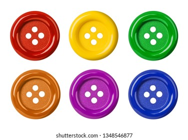 Set of multicolored buttons isolated on white background