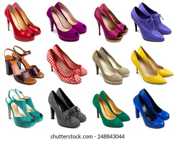 Set of multicolored female footwear on white background