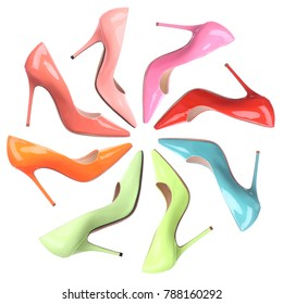 Set of multicolored female shoes on white background. Flat lay, top view. Fashion feminine background