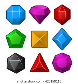 Set of Multicolored Gems for Match3 Games. illustration