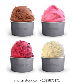 set of multi-colored ice cream in a paper cup on a white backgro