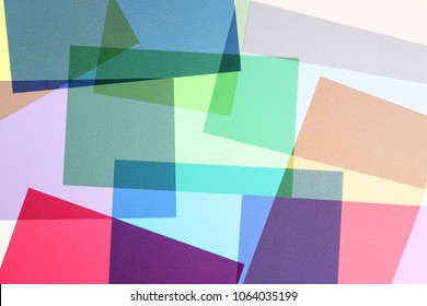 set of multicolored and overlapping transparencies, abstract colorful background