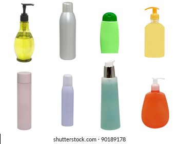 Set of multicolored plastic cosmetic containers isolated on a white background.