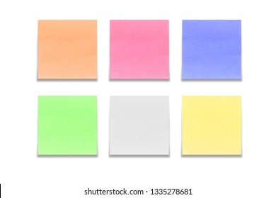 Set of multicolored sticky notes isolated on white background