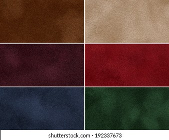 Set of multicolored velvet high-resolution textures for background.