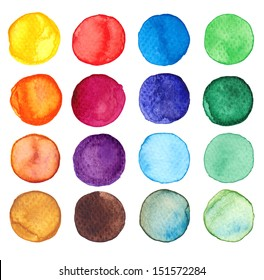 Set of multicolored watercolor dots