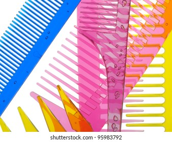 Set multi-coloured transparent combs. It is photographed on a gleam. It is isolated on a white background