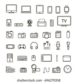 Set of multimedia device icon black color on white background.