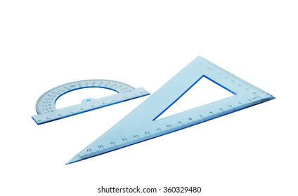 Set of multiple blue plastic rulers and the protractor, isolated over the white background