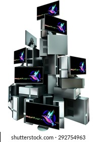 A set of multiple computers assembled in the composition in the form of high pyramid on white background. 3d illustration concept.