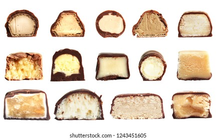 Set of multiple different chocolate confection. Pattern of sweet confectionery, concept of cut candy in half with a coating of dark chocolate, filling of milk, isolated on white background