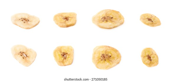 Set of multiple dried banana slices snacks isolated over the white background