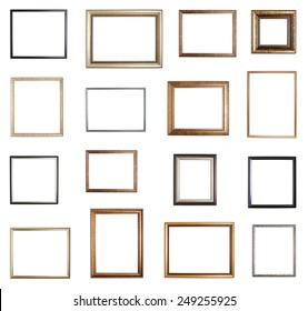 Set of multiple empty copyspace wooden picture frames with with the shadow drops, isolated over the white background