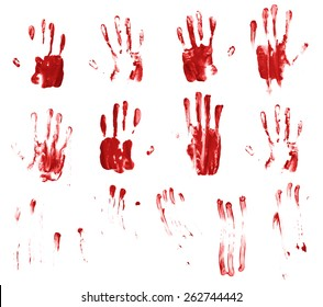 Set of multiple hand made palm prints and finger smears of the oil paint, isolated over the white background