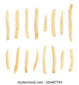 Set of multiple single potato french fries isolated over the white background