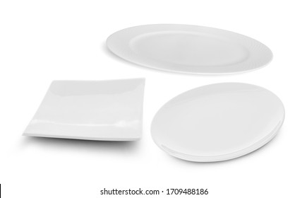 set of multi-shape white plate on white background