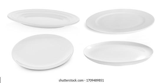 set of multi-shape white plate on white background