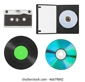 Set of music equipment isolated on white background