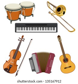 Set of musical instruments. Also available in vector.