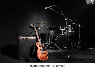 Set of musical instruments during concert - Shutterstock ID 214194844