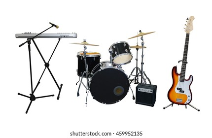 Set of musical instruments isolated on white background: guitar, synthesizer, combo amplifier and drums - Shutterstock ID 459952135