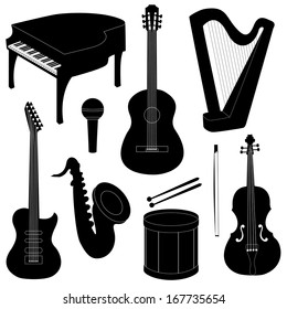 Set of musical instruments silhouettes isolated on white. Raster version.