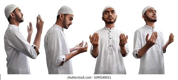Set of muslim man praying