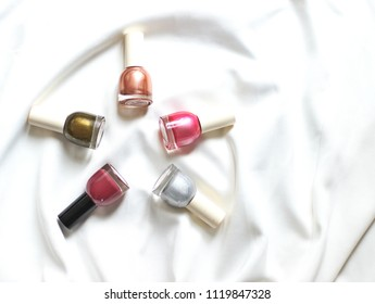 Set of Nail Polish Bottles on White background