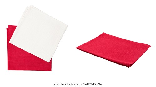 Set of napkin napkins top view isolated on white background, mock up napkin, red white napkins