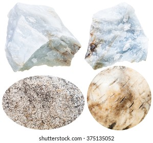 set of natural mineral stones - specimens of anhydrite cabochon gemstones and rocks isolated on white background