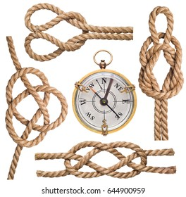 Set of nautical rope knot and compass isolated on white background.