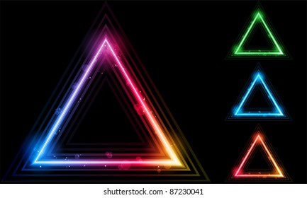 Set of  Neon Laser Triangle Border